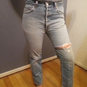 VTG 80s Levi's 501 High Waisted Distressed Jeans